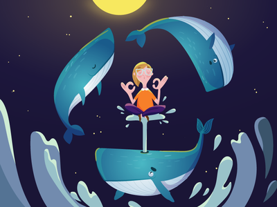 Oana and the whales moonlight childhood fear illustration vector whale