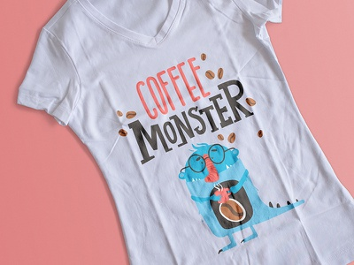 Coffee MONSTER vector illustration coffeee beans monster coffee t-shirt design