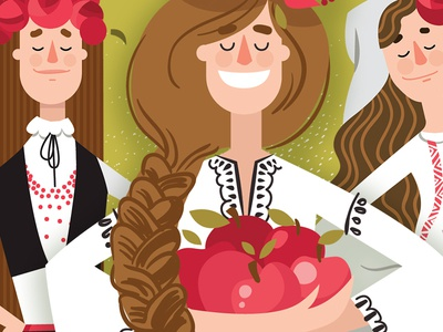 Balkan girls bulgaria illustrator apples ethno balcan girl vector flat illustration
