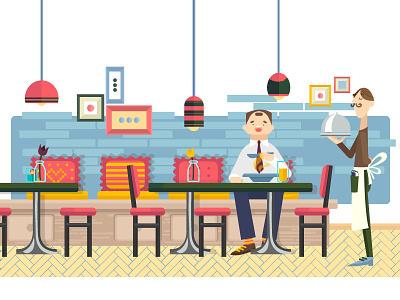 Snackin' food web illustration waiter restaurant bar adobe illustrator vector illustration