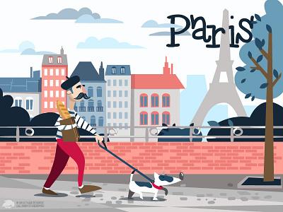 Uh La la illustrator adobe tower eiffel french vector illustration france paris