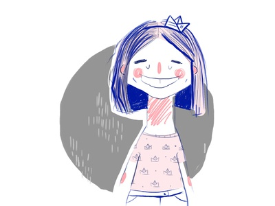 Paper Boat Princess  photoshop sketch quick portrait self summer cartoon