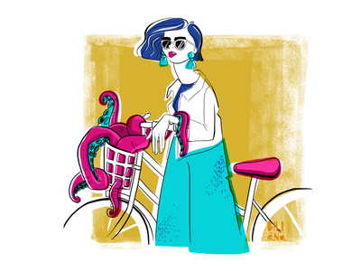The Octopus cyclist bicycle girl cyclist octopus painting digital illustration