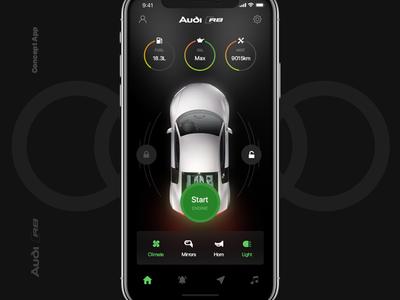 Audi R8 Concept App product navigation vehicle dashboard car ux ui mobile ios concept automotive