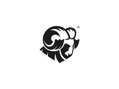 Logo concept for excavating company. simple marka collective digging mark logo male sheep ram excavating