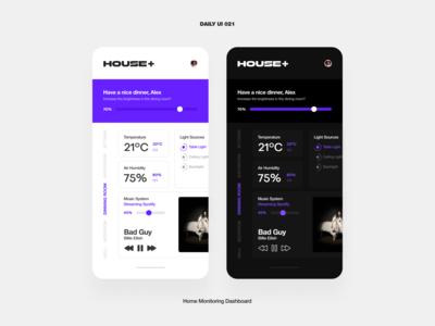 UI Challenge — Home Monitoring Dashboard house control panel dashboard light dark iot home phone mobile app design ux ui daily ui dailyui