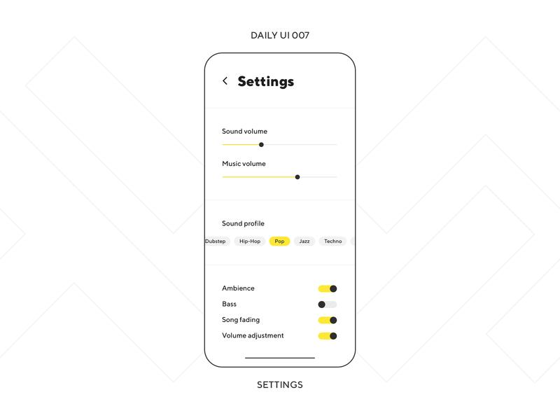 UI Challenge — Settings ui minimal minimalism app phone mobile profile volume sound music dailyuichallenge uiux settings ui settings daily ui 007 dailyui daily ui
