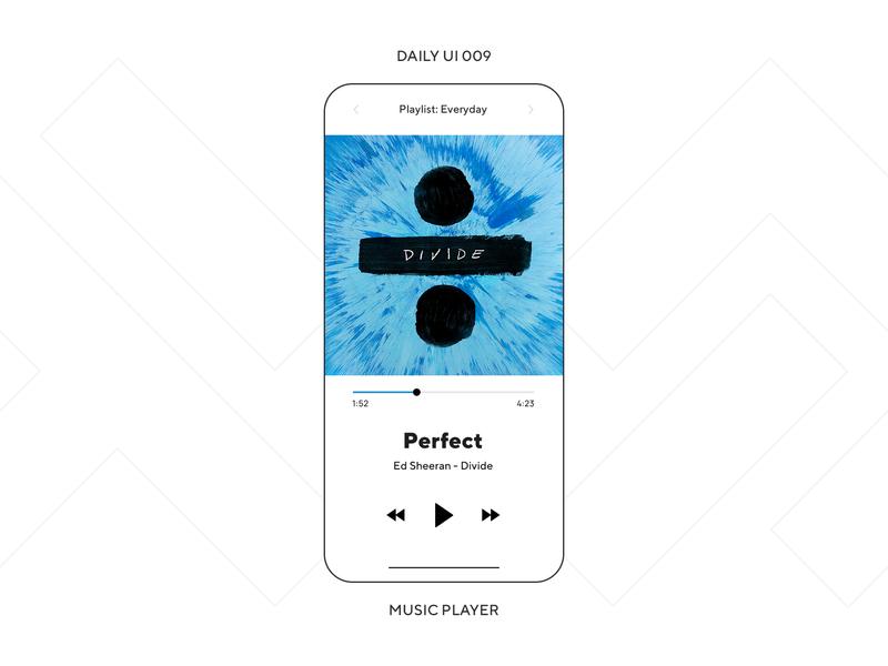 UI Challenge — Music Player song minimal phone app daily ui dailyui daily ui 009 ux design ui design mobile app music player music app