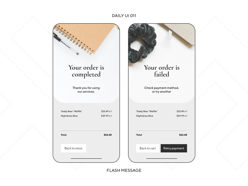 UI Challenge — Flash Message ux design ui mobile ui app phone mobile souvenir gift wear market shop store dailyui 011 dailyui daily ui