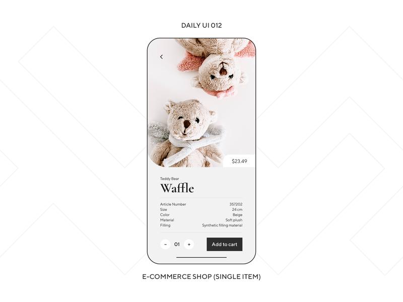 UI Challenge — E-Commerce Shop (Item) design ux ui gift teddy bear market store shop phone app mobile daily ui dailyui daily ui 012