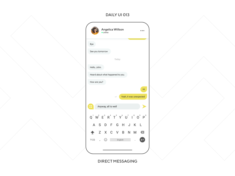 UI Challenge — Direct Messaging social minimalism chat message messenger phone app mobile design ux ui dailyui daily ui daily ui 013