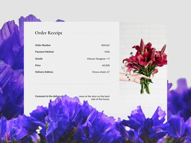UI Challenge — Email Receipt web letter order flower shop design ui ux daily ui dailyui daily ui 017