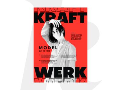 KraftWerk — Model typography swiss brutal brutalism musical music poster