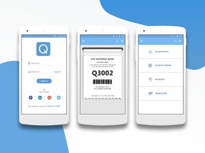 Q App queue ticket mobile app ui ux android app q app