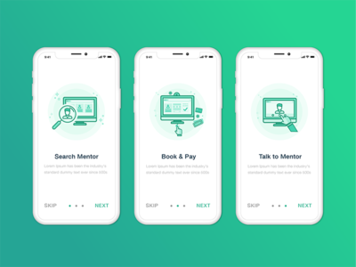 Onboarding Screens custom illustrations concept mockup onboarding screen mentor booking app