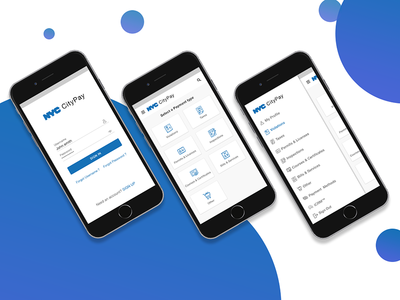 Nyc-City Pay App permit taxes violation concept ui ux payments city pay ios app