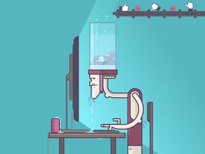 Likes addict web facebook addiction social media dribbble freak nerd geek likes vektor line art illustration