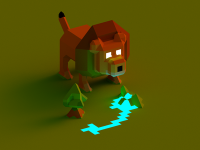 A lion in the savanna character play game light concept savanna render 3d voxelart voxel lion