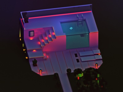 night at the pool isometric design night 3d voxel render isometric illustration isometric pool