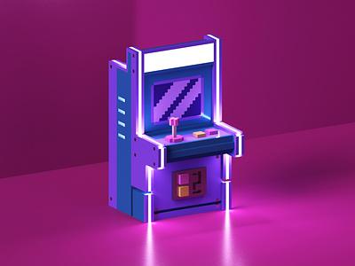 low poly arcade machine model low poly isometric voxel render 3d arcade game retro arcade machine