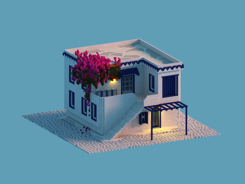 The Mediterranean House greece villas voxel art vacation summer 3d voxel isometric house mediterranean greek