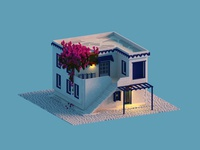 The Mediterranean House greece villas voxel art vacation summer 3d voxel isometric house mediterranean greek