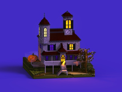 Spooky House horror fear fear house creepy pumpkin paranormal halloween villas isometric 3d voxel art voxel house spooky