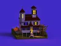 Spooky House horror fear fear house creepy pumpkin paranormal halloween villas isometric 3d voxel art voxel house spooky