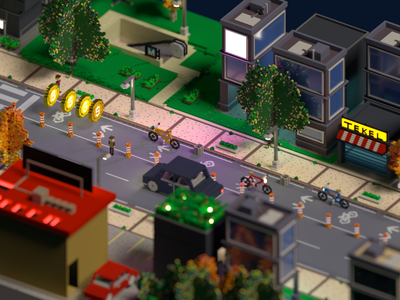 Gameplay - Rush Cycle - Game Design isometric phone game game game art building road path coin gameplay texture city street bicycle cyclist voxelart game design voxel ios