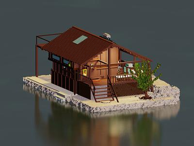 Rustic Tree House (NFT) nonfungible rarible rare digitalart pixelart architecture house isometric animation 3d animation 3d magicavoxel voxelart voxel nftart nft