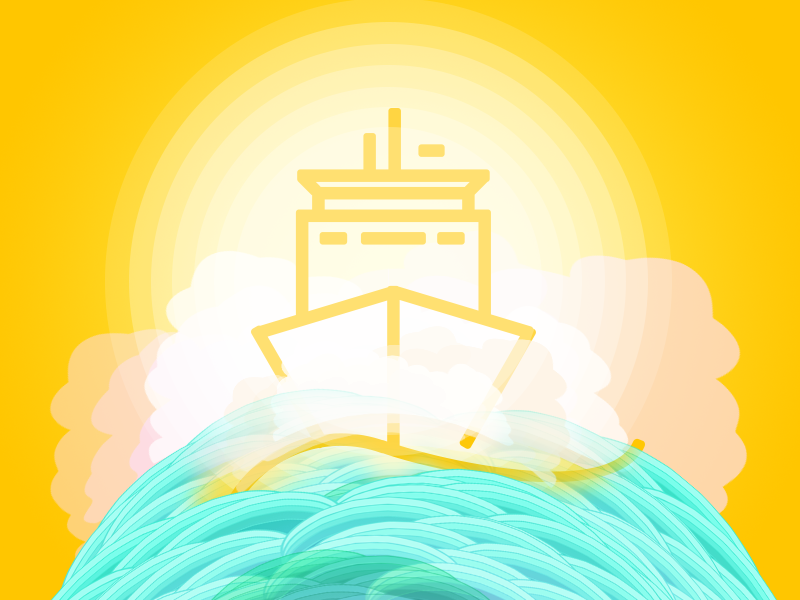Ship Icon (SVG) free icon icon ship sea sun cloud vector illustration svg