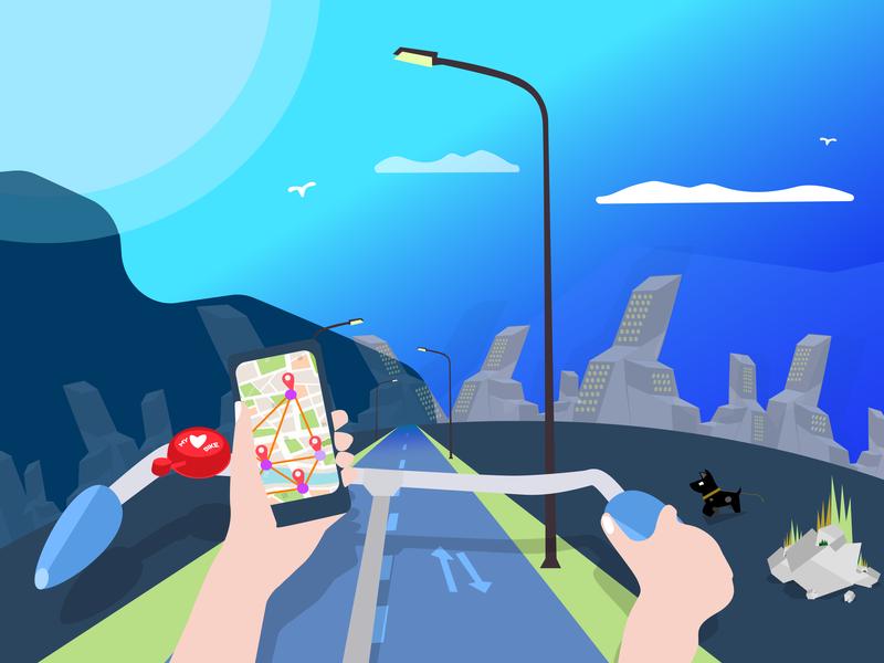 App of The Day / illustration illustration art bike road dog city ride adobe illustrator app store sketch