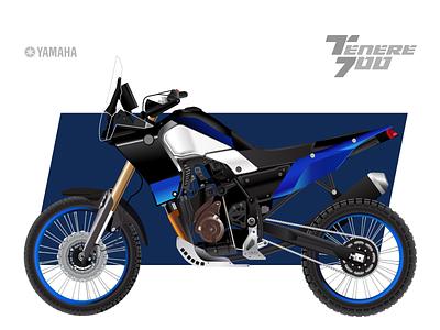yamaha tenere 700 / illustration wheel blue engine biker tenere700 tenere yamaha vector bike motorbike motor vehicle enduro motorcycle illustration