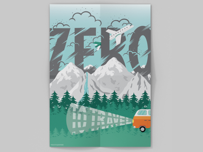 Zero to Travel podcast poster typography graphic design illustration