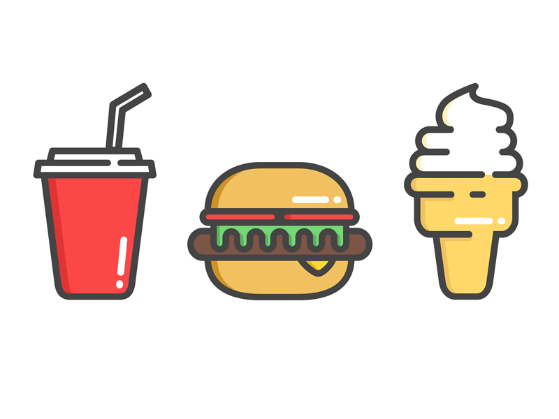 Junk Food fast food junk food icons cone ice cream soft drink soda burger food illustration