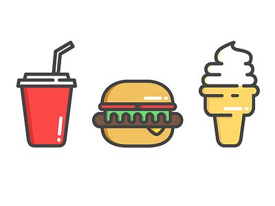 Junk Food fast food junk food icons cone ice cream soft drink soda burger food illustration