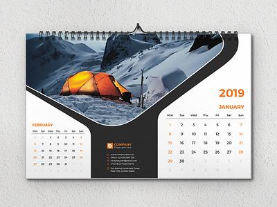 Wall Calendar 2019 photo office new year month monday green eligent cyan creative calendar creative cover corporate calendar corporate company colorful color calendar blue bab 17x11 calendar