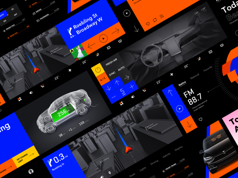 Automotiove HMI Concept Design icon china setting weather radio air conditioning navigation music graphic blue dark mode dark ui automotive gif animation ux auto ui car