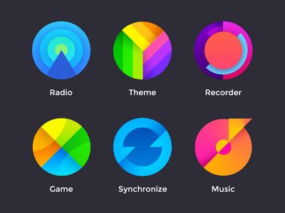 Icon green blue colour icon china ui music synchronize game recorder theme radio