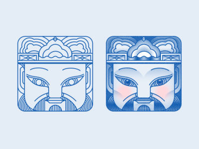 Chinese Traditional face ear eye hat ux festival blue game painting face icon ui chinese