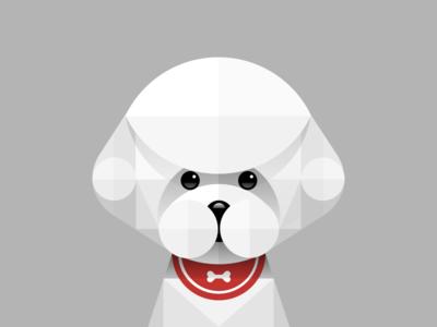Poodle north paper white geometry illustation china animal icon ui poodle teddybear dog