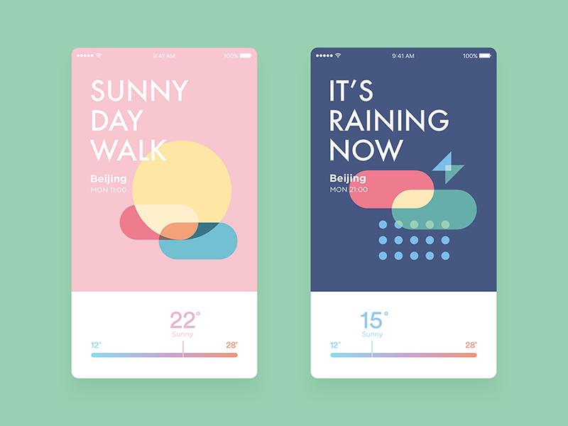 Weather Concept Design app iphone temperature wind snow rain sunset sun icon drizzle cloud weather