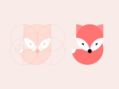fox icon face mark tail circular grid branding logo animal app ui icon fox