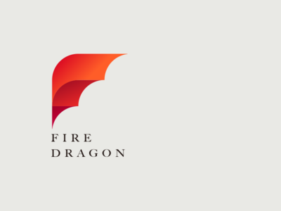 Fire dragon logotype icon sailboat letter wings red illustration identity dragon fire brand logo