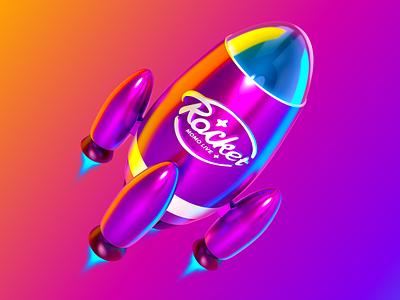 Rocket ux ui illustration gradient launch flight 3d pink rocket mark logo icon