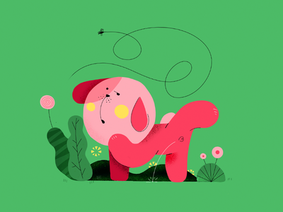 my stupid dog life pink grass shy line green red character fly flower dog illustration