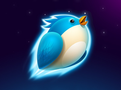 Bird blue bird rock blue icon icon graphic ui illustration china green photoshop rocket quick fast universe