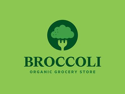 BROCCOLI, Organic Grocery Store deli falt plant tree seif healthy organic grocery store food green fork vegitable broccoli vector design branding simple illustration icon logo