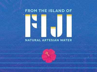 Retro Fiji Water simple ocean fiji retro vintage flower water typography branding hibiscus illustration icon retro design island artesian package design logo
