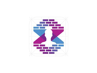 Filter Mason Logo blue pink iphone ui app filter snapchat icon bricks purple profile logo